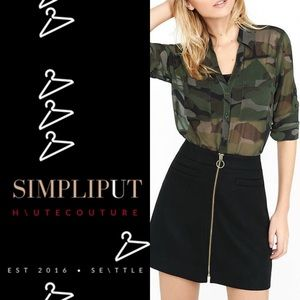 EXPRESS Portofino Shirt Sheer Camouflage Button